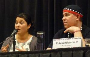 Mines adviser Barbara Blake and tribal leader Rob Sanderson Jr. participate in a forum March 9, 2016, in Juneau. (Photo by Ed Schoenfeld/CoastAlaska News)