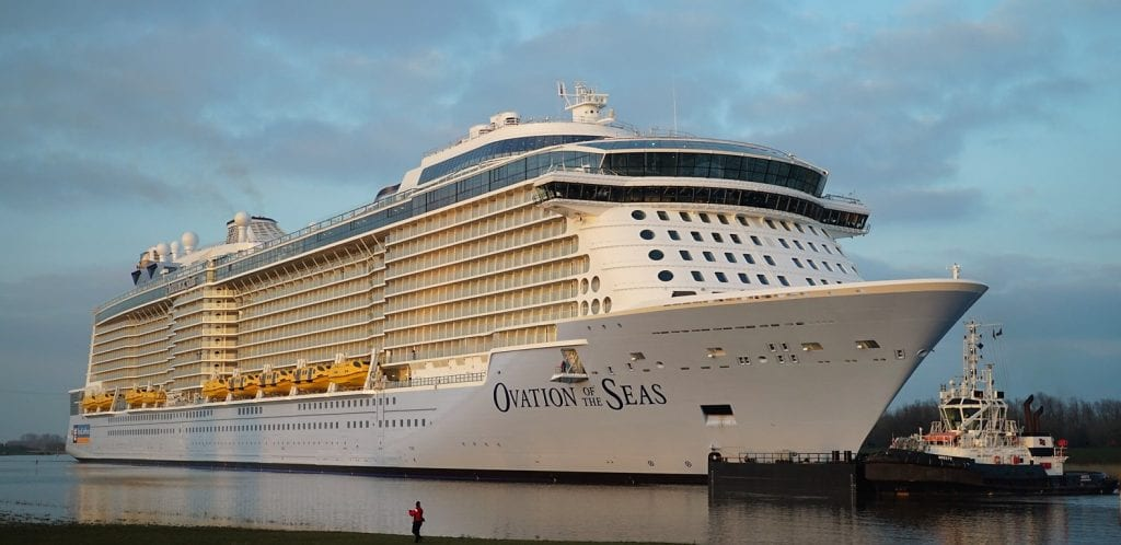 The 5,000-passenger Ovation of the Seas begins its 26-mile conveyance to the North Sea March 11, 2016. It will begin sailing Alaska's Inside Passage beginning in 2019. (Photo courtesy Royal Caribbean International.)
