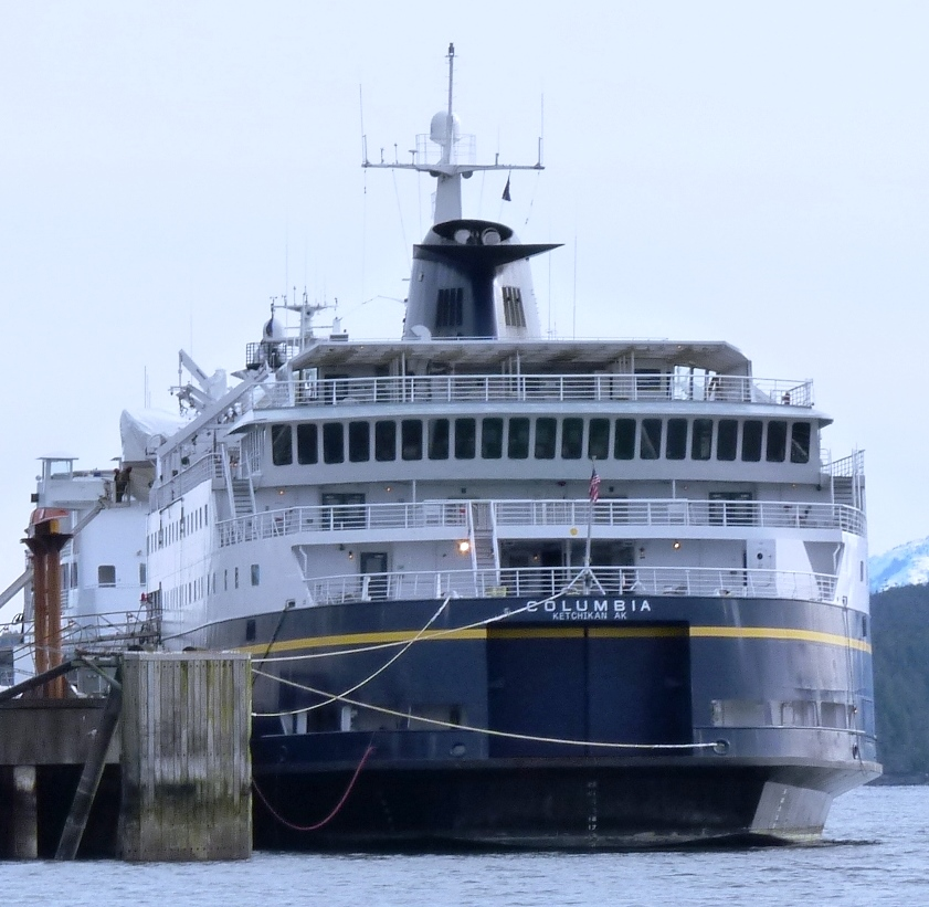 The ferry Columbia ties up in Ketchikan in 2012. It's running late this week after a mechanical problem. (Photo by Ed Schoenfeld/CoastAlaska News)