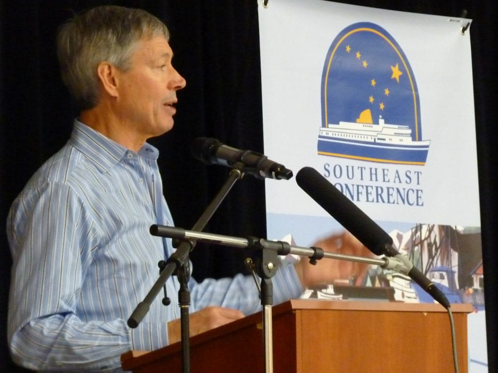 Cruise Lines International Association Alaska President John Binkley talks about industry growth Feb. 14 in Juneau. (Ed Schoenfeld/CoastAlaska News)