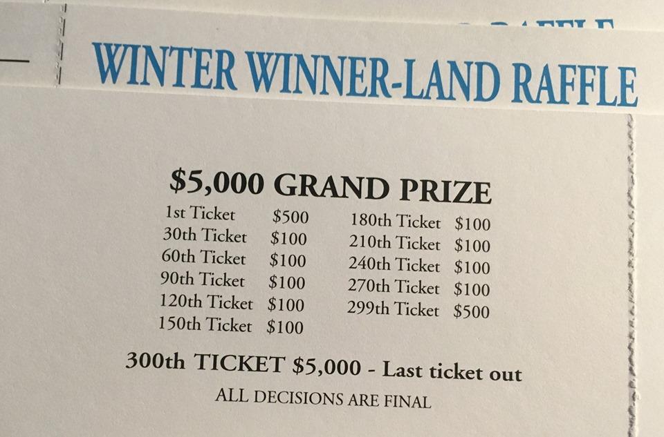 Winter Winner Land Raffle tickets back